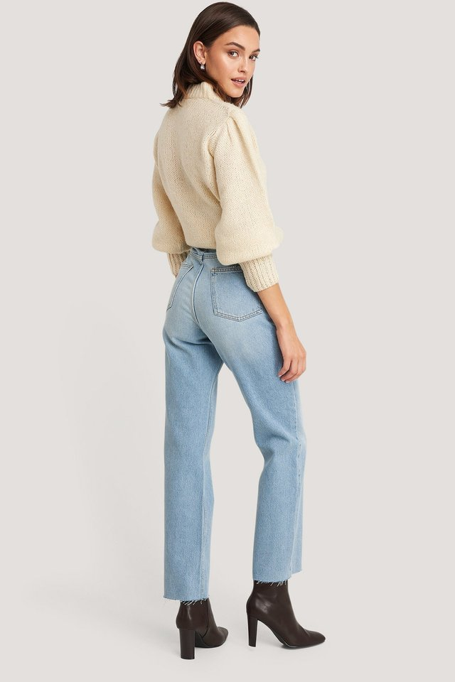 High Waist Raw Hem Straight Jeans Light Blue