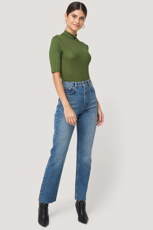 High Waist Raw Hem Straight Jeans NA-KD