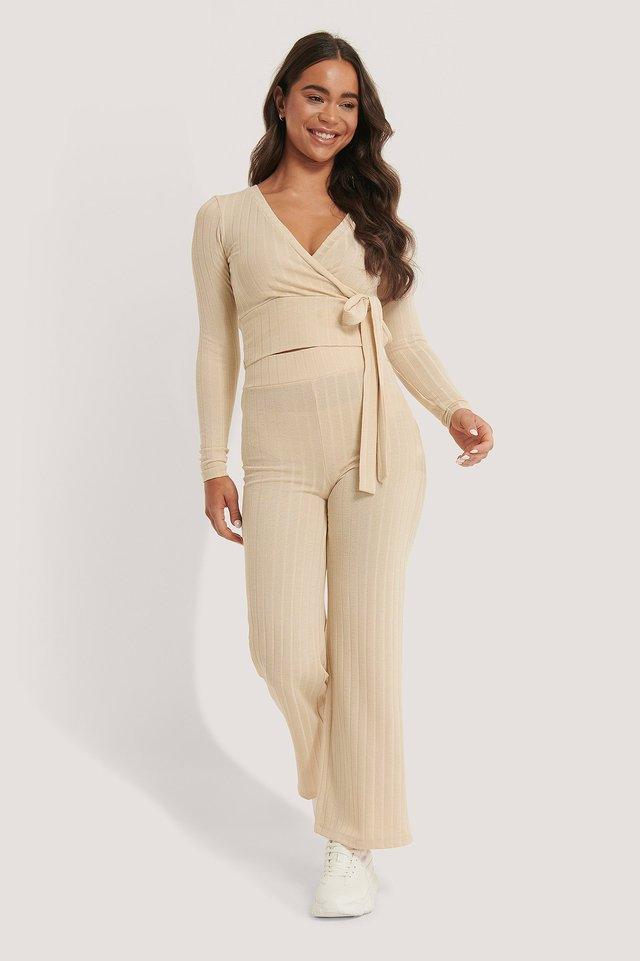 High Waist Ribbed Pants Beige