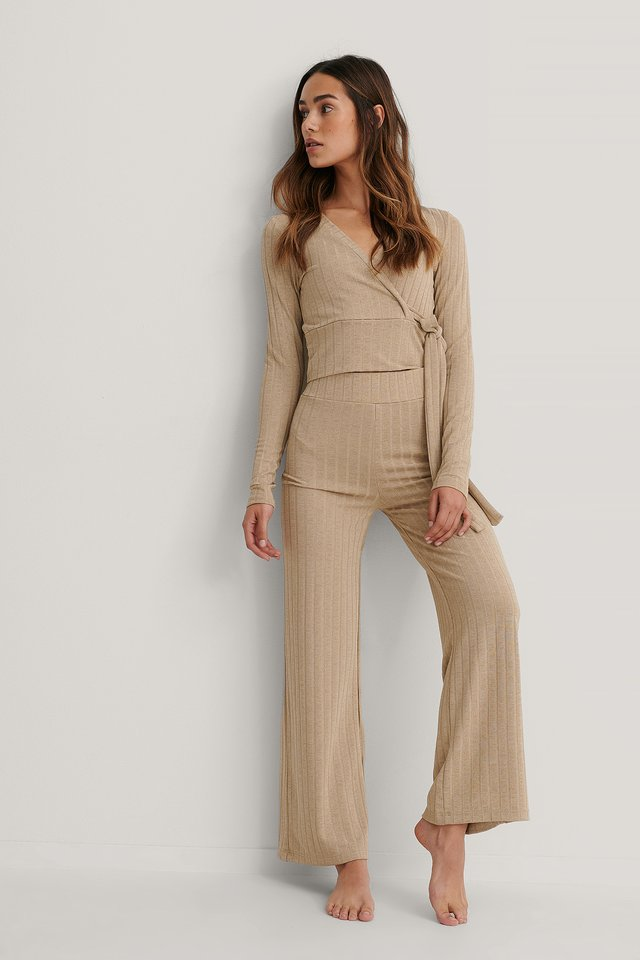 High Waist Ribbed Pants Dark Beige