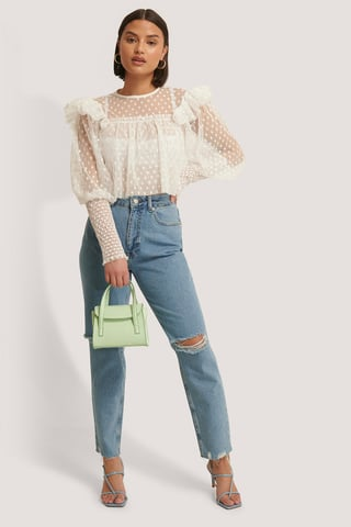 Mid Blue High Waist Ripped Knee Jeans