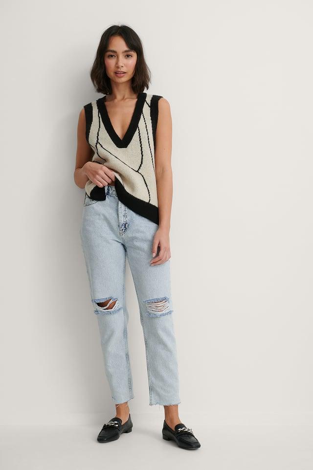 Light Blue Ekologiska Jeans Med Slitningar På Knäet Och Hög Midja