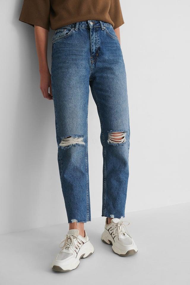 Mid Blue Organic High Waist Ripped Knee Slim Jeans