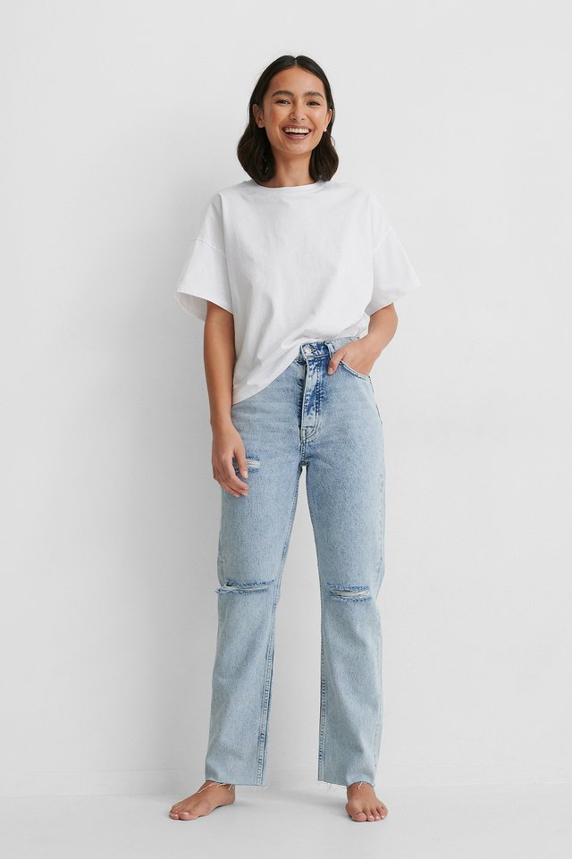 Light Blue High Waist Ripped Knee Straight Jeans
