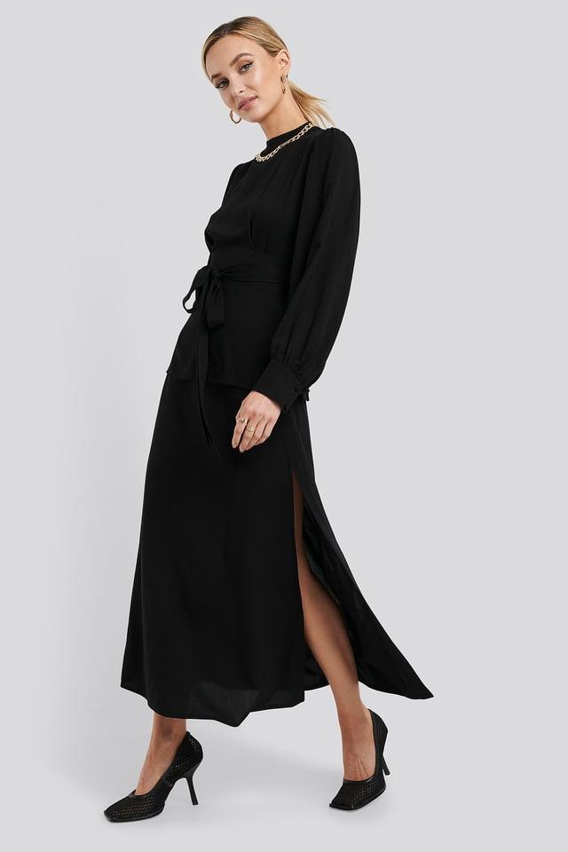 High Waist Side Split Midi Skirt Black