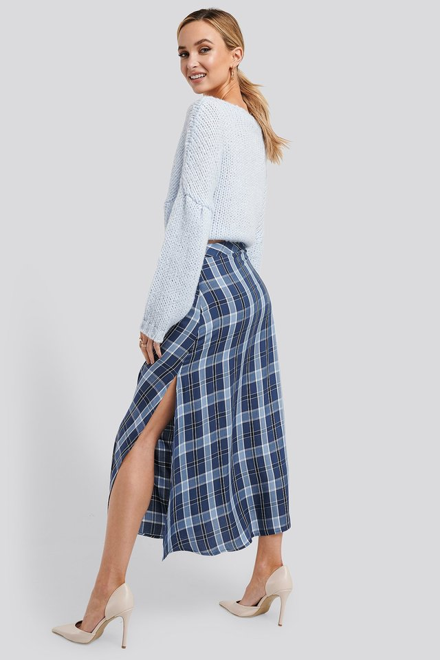 High Waist Side Split Midi Skirt Blue Check