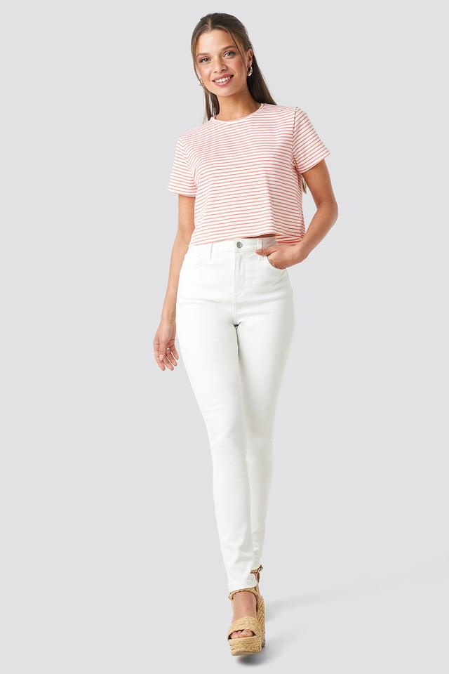High Waist Skinny Jeans White