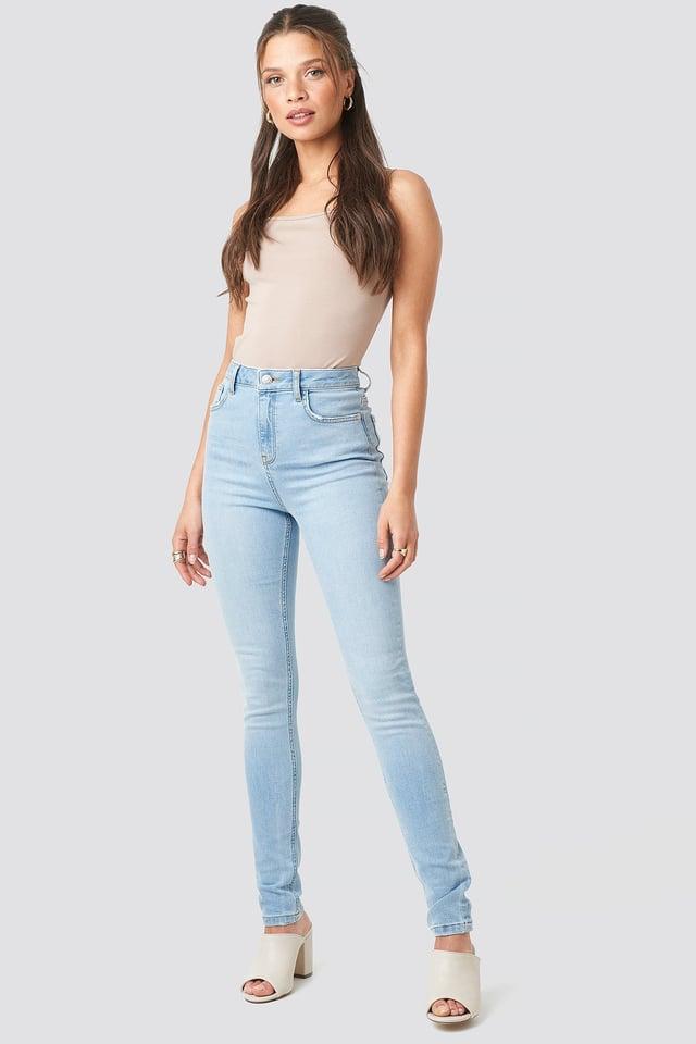 High Waist Skinny Jeans Light Blue