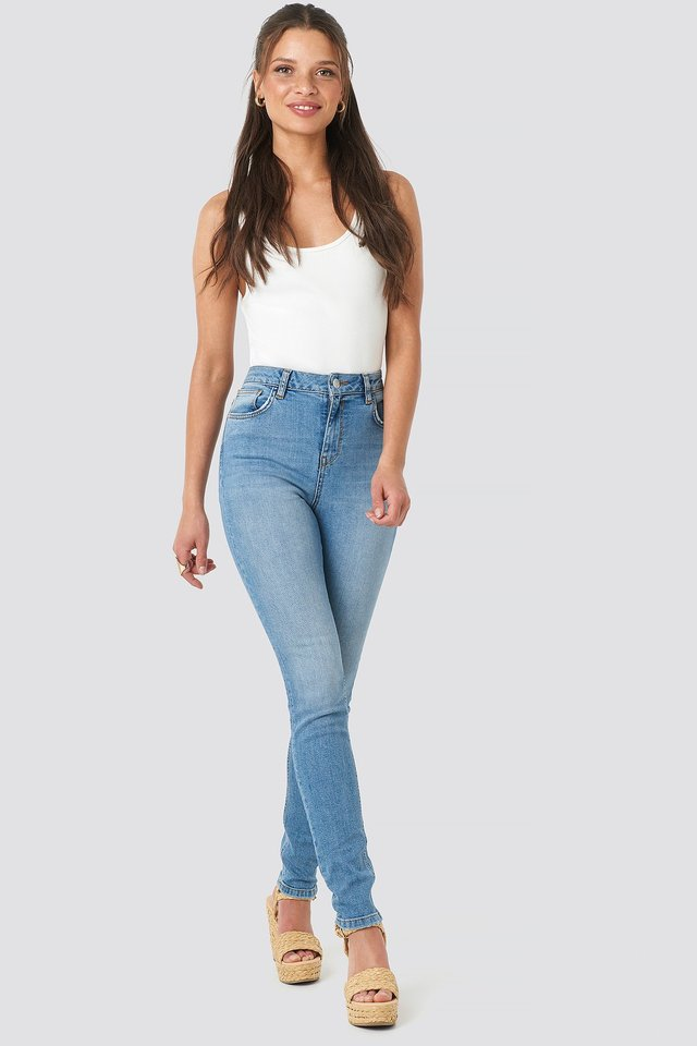 High Waist Skinny Jeans Mid Blue