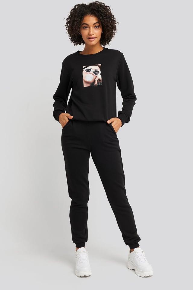 High Waist Slim Leg Joggers Black