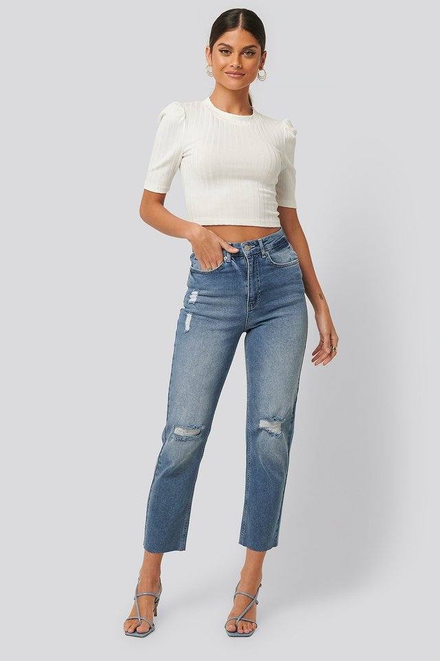 Mid Blue High Waist Straight Destroyed Jeans
