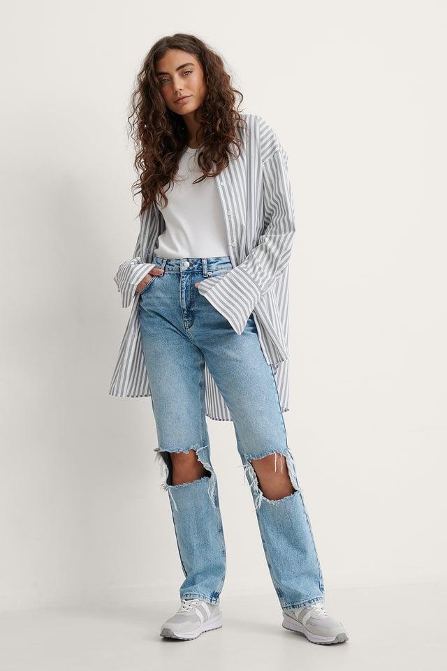 Light Blue High Waist Straight Destroyed Knee Jeans