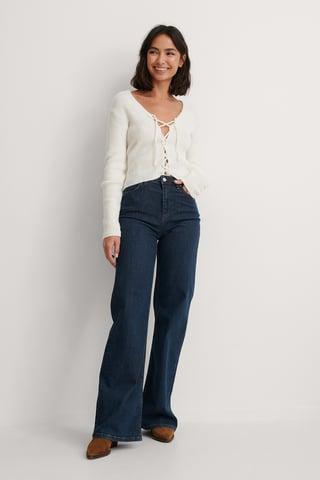 Navy High Waist Wide Jeans