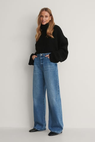 Blue High Waist Wide Leg Jeans