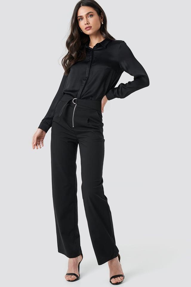 High Waist Zip Detail Pants Black