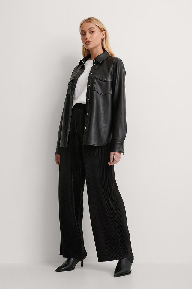 Black High Waisted Pleated Pants