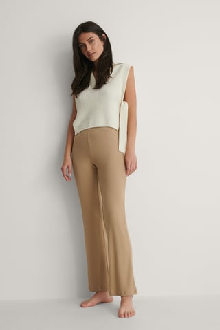 Beige High Waisted Ribbed Pants