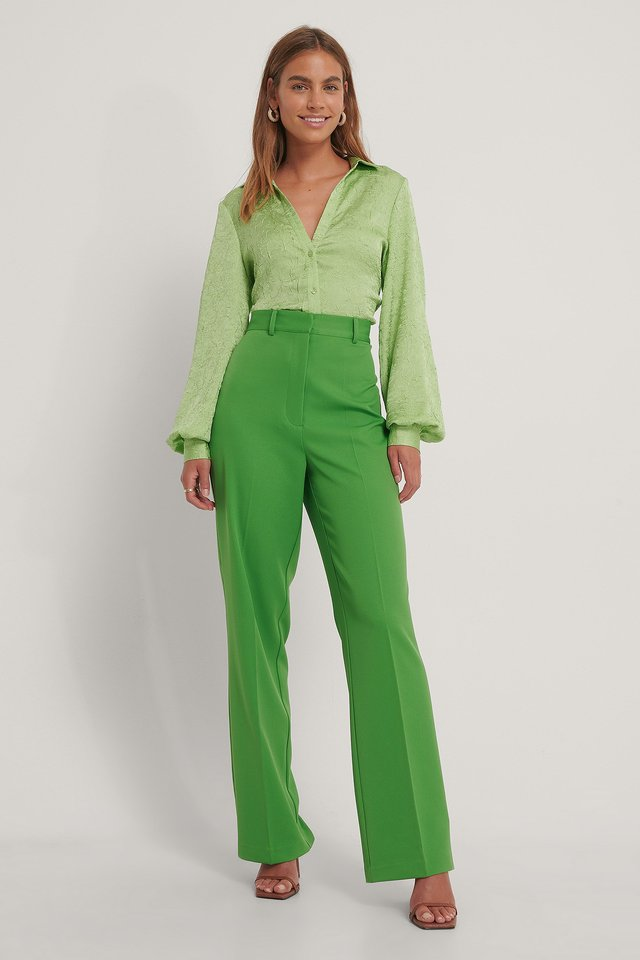 High Waisted Suit Pants Leaf
