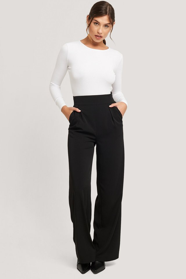 Black Recycled High Waisted Wide Leg Suit Pants