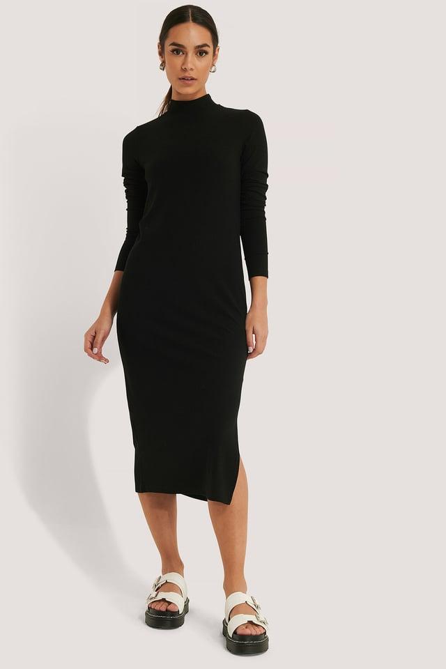 Black Recycled Highneck Ribbed Basic Longsleeve Dress