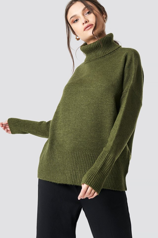 Highneck Wide Rib Long Sweater Green
