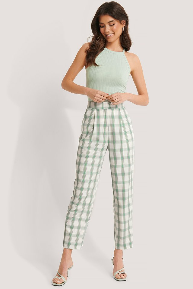 Highwaist Checked Pants Checked