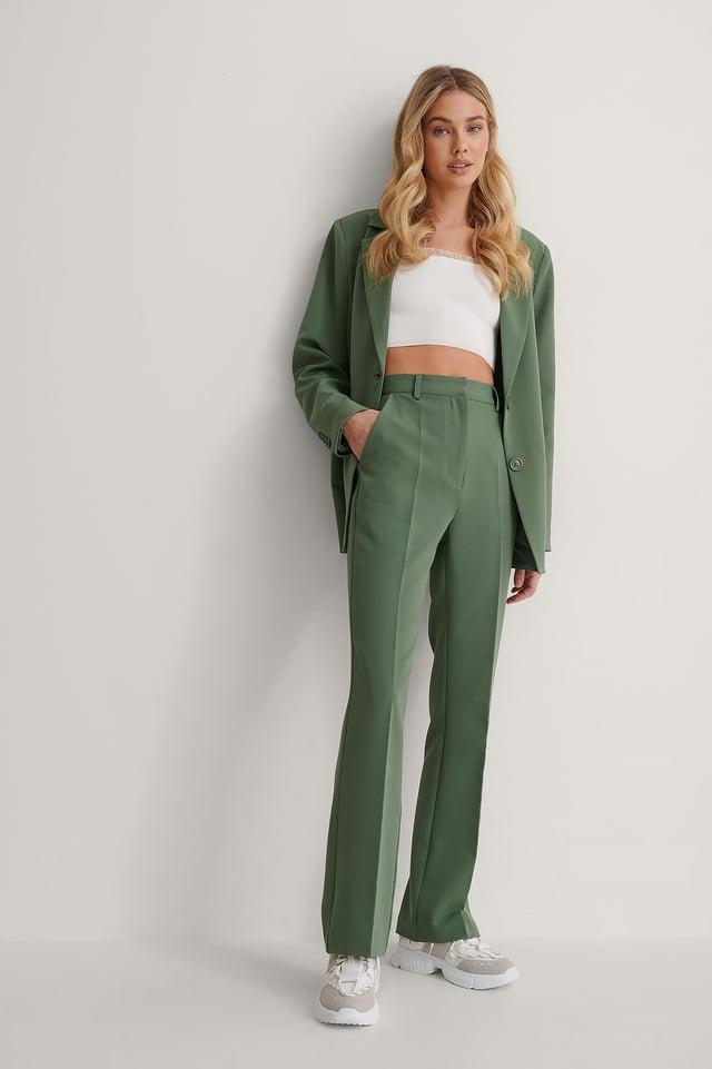 Dark Green Highwaist Suit Pants