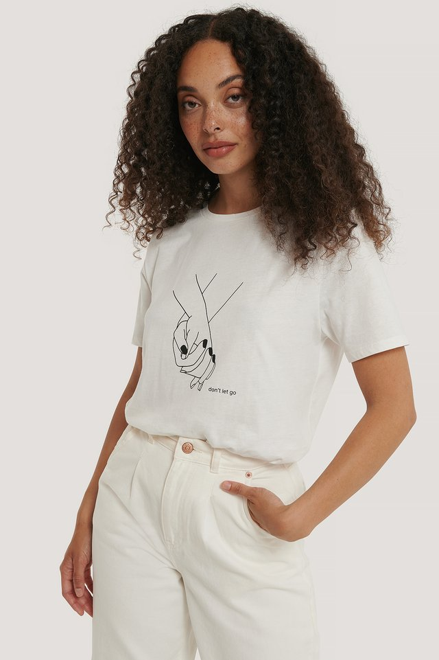 Camiseta Estampada Con Manos Agarradas Off White