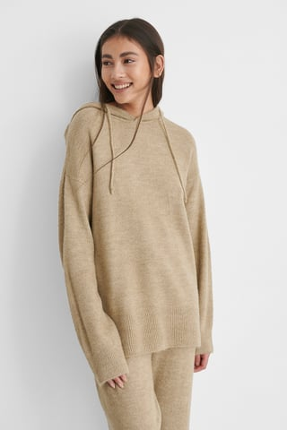 Beige Hood Knitted Sweater