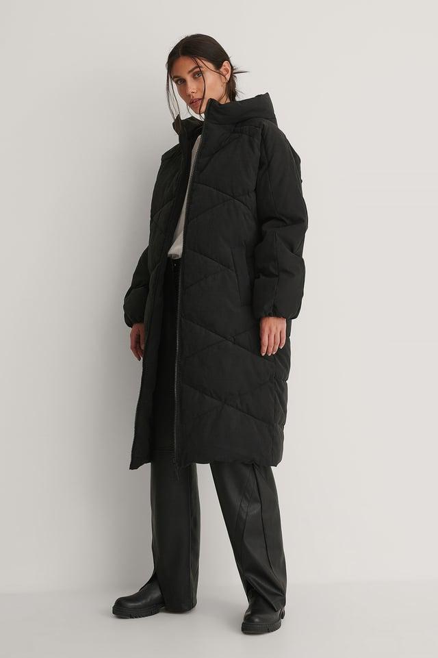 Black Hood Padded Long Jacket