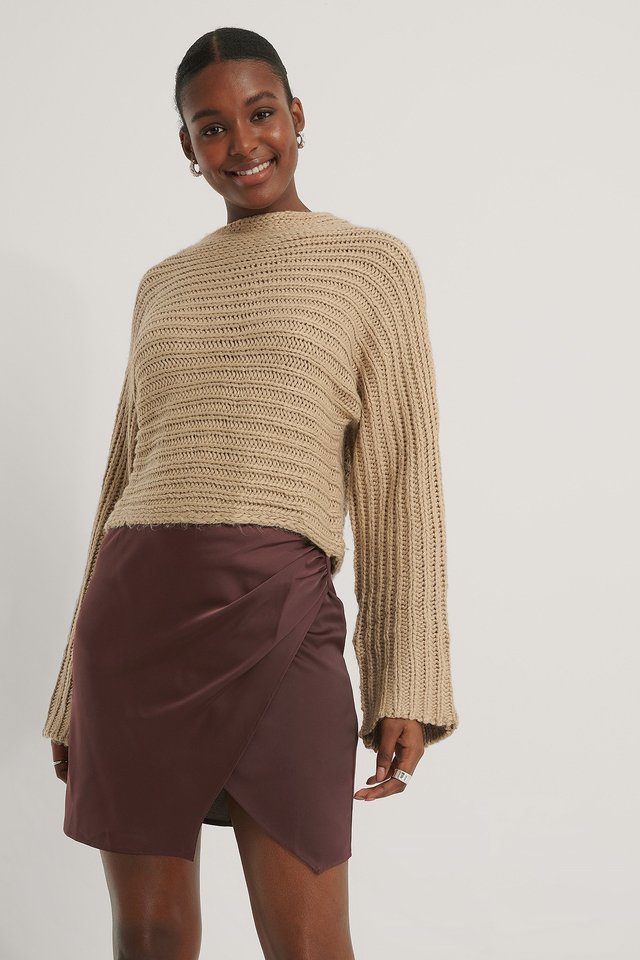 Beige Horizontal Ribbed Knitted Sweater