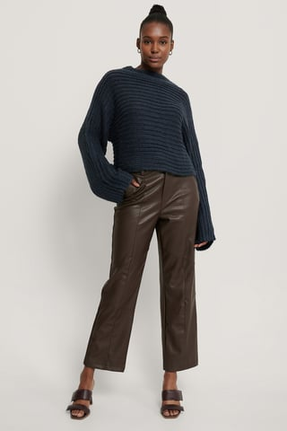 Navy Horizontal Ribbed Knitted Sweater