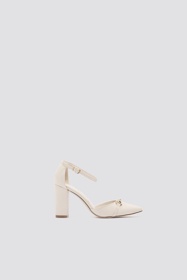 Horse Bite Pointy Mid Heel Light Beige