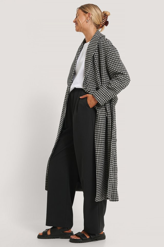 Houndstooth Belted Coat Checked