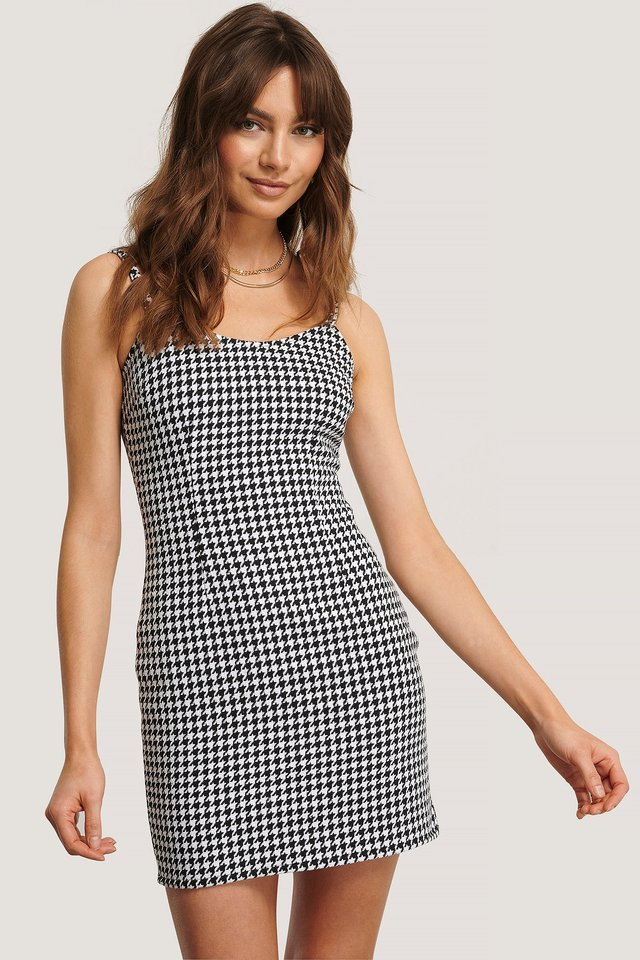 Houndstooth Fitted Mini Dress Houndtooth Print