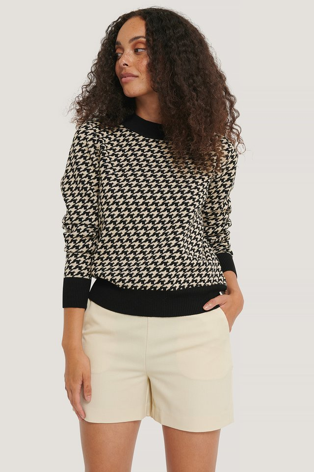 Houndstooth Knitted Sweater White/Black