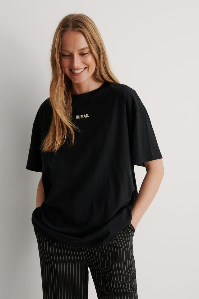 Black Organic Human Embroidery Print Tee