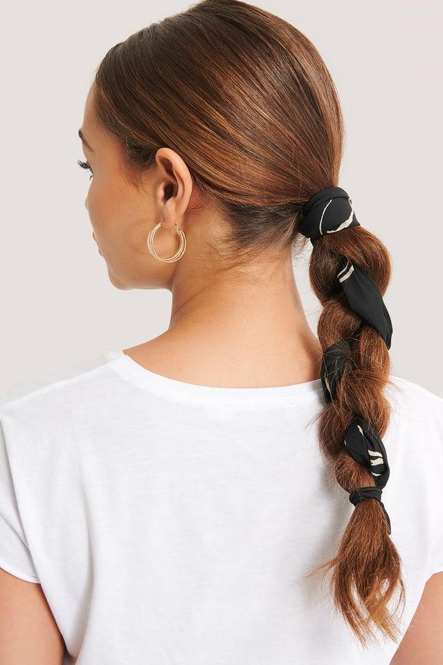 Ink Print Slim Hair Scarf (065) Black