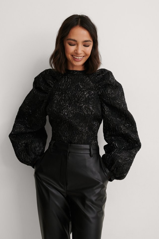 Black Jacquard Metallic Blouse