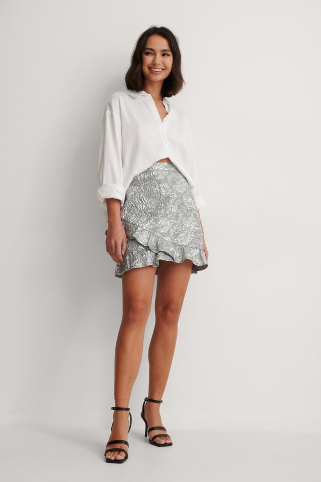Silver Jacquard Frill Metallic Skirt