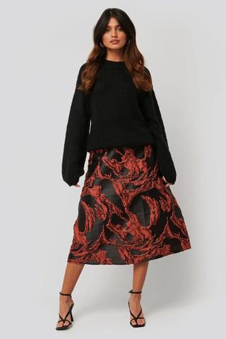 Black/Red Jacquard Midi Skirt
