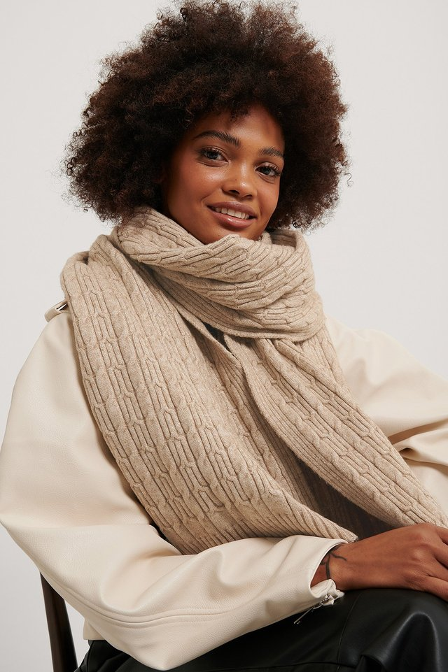 Beige Jersey Cableknit Scarf
