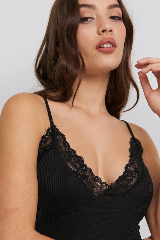 Jersey Lace Singlet Black