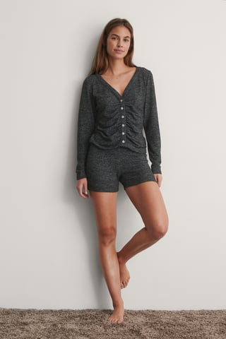 Grey Melange Jersey Mini Shorts