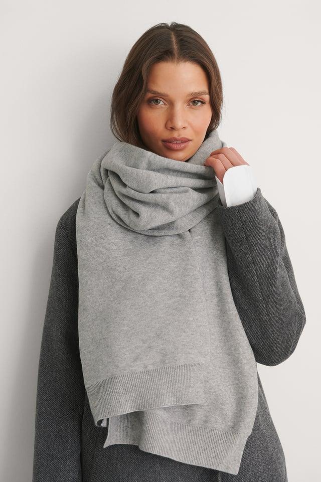 Grey Melange Jersey Scarf