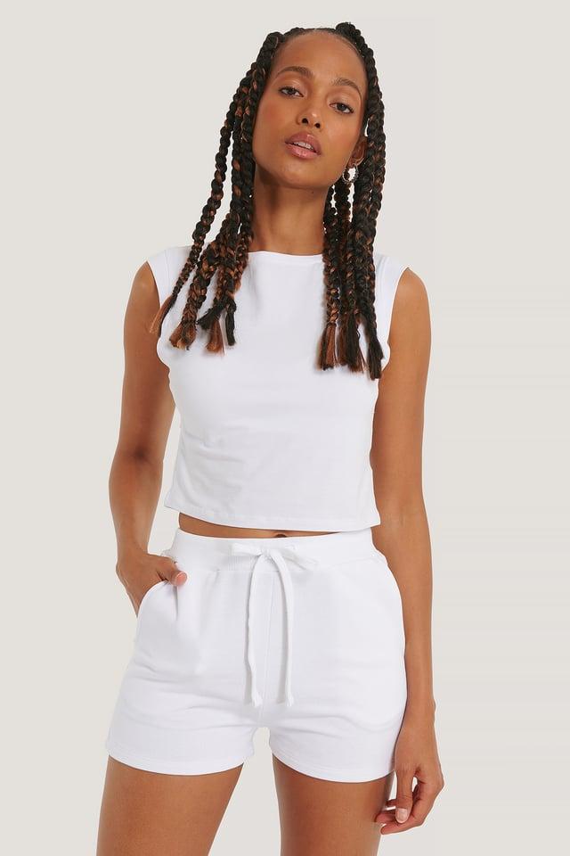 White Organic Jersey Shorts