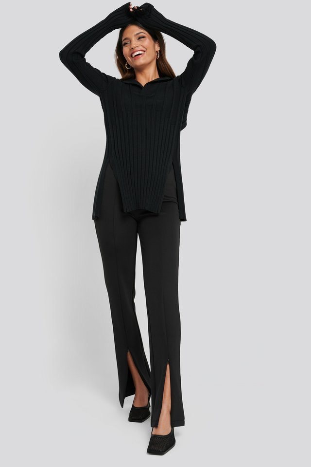 Front Slit Zipper Jersey Skinny Trousers Black