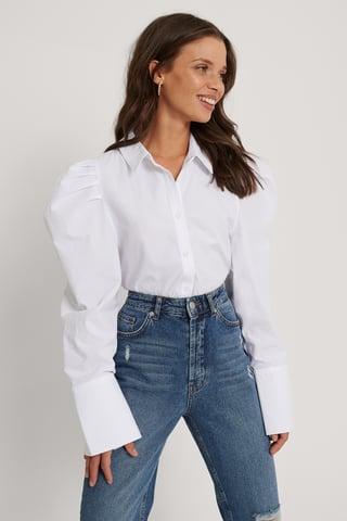 White Orgánica Camisa Con Pliegues En Hombro