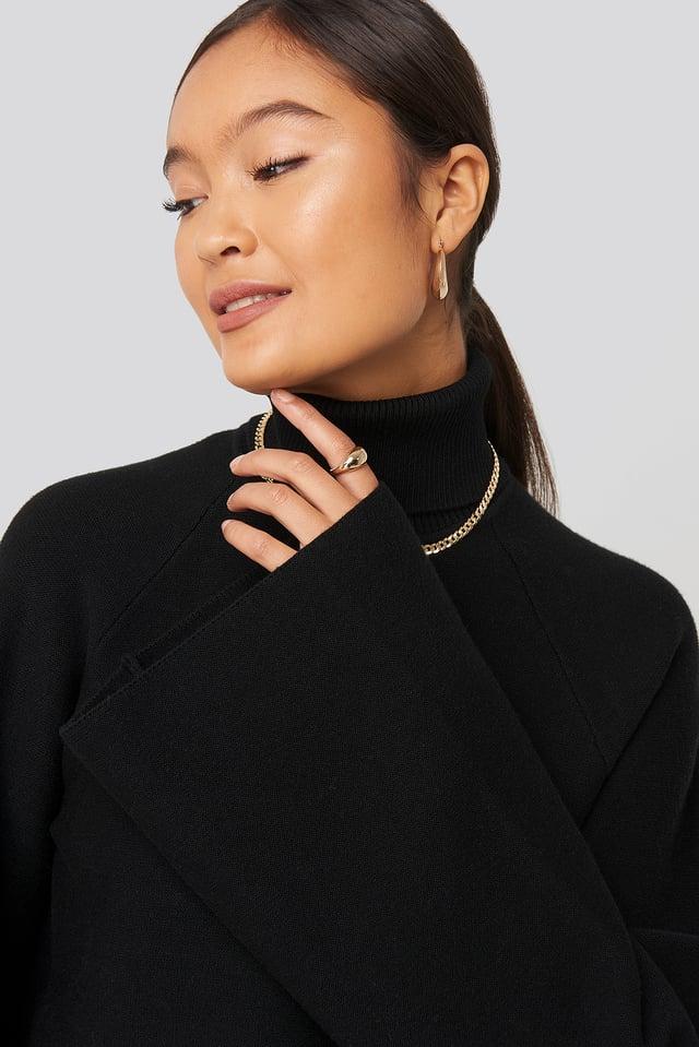 Joann Van Den Herik  Polo Neck Knitted Sweater Black