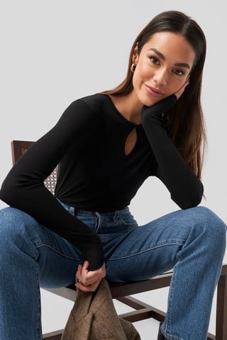Black Keyhole Ribbed Long Sleeve Jersey Top